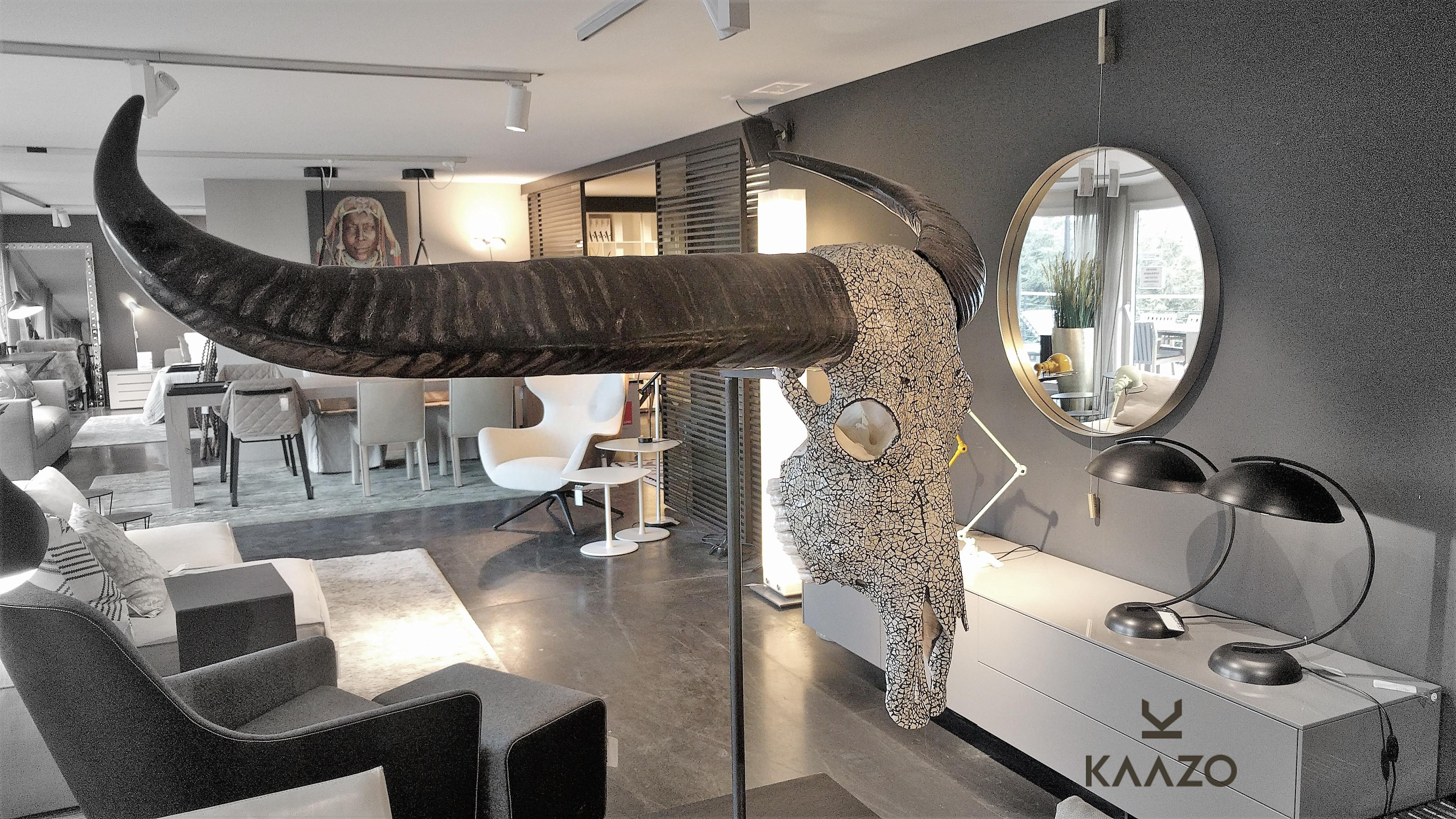 Kaazo South Africa Ostrich Eggshell Mosaic Buffalo Skull